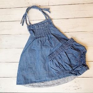 Tea denim halter dress with romper // kids